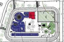 PLÁNEK budoucího dětského hřiště ve Stříbře s inlinovou dráhou. Na snímku vpravo je současná podoba hřiště, které se nachází vedle gymnázia.