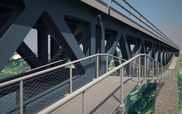 Vizualizace nové konstrukce Pňovanského mostu. Ten by měl být obohacen olávku pro chodce.