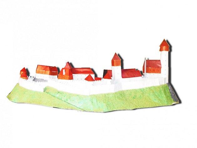 Při promítání návštěvníci uvidí také tento model hradu Krasíkov, jak pravděpodobně vypadal v době své největší slávy. Autorkou modelu je Andrea Huclová.