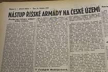 Dobový tisk z března 1939, zápisy z kronik.