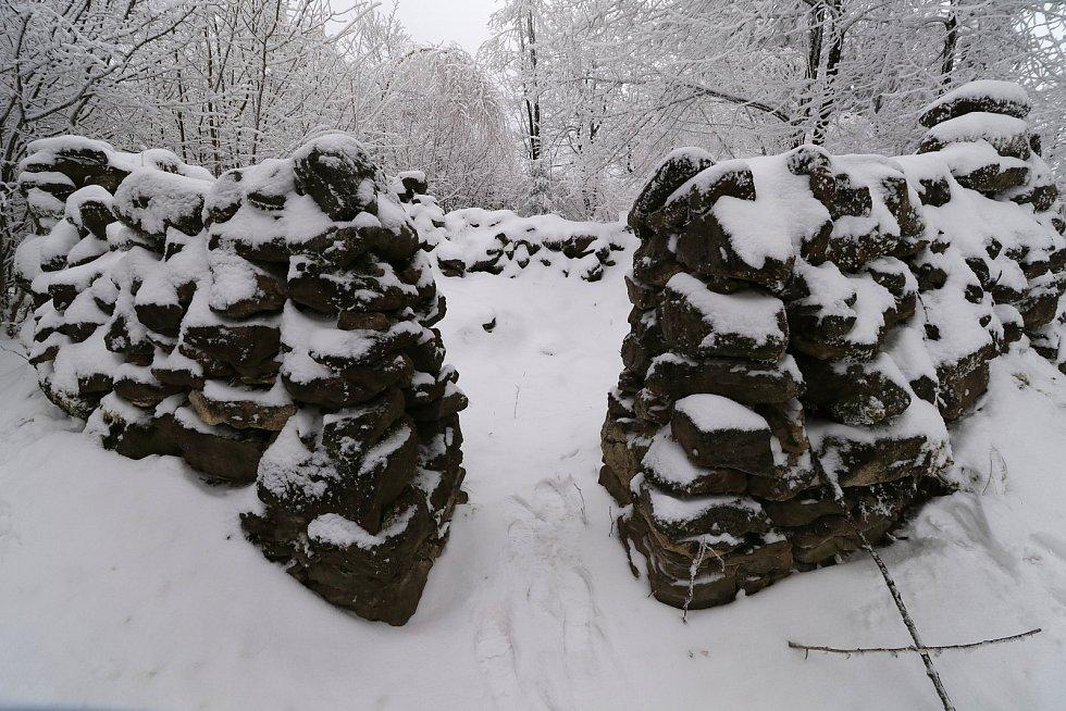 Vrch Šibeník se šibenicí a blízké okolí.