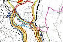 Mapka lyžařských tras v bavorské Silberhütte, těsně za přechodem Křížový kámen. Světle modrou barvou je vyznačena trasa, která bude v zimě zasněžována.
