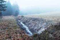 Součástí prameniště Kateřinského potoka jsou mokřadní louky i tato část koryta potoka, kde jsou prováděny zásahy.