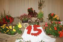 ÚSTŘEDNÍ květinová dekorace patnáctého ročníku okresní zahrádkářské výstavy je jako už tradičně dílem Šmoulinek.