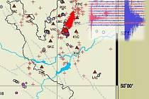 Mapka aktuálních zemětřesení.