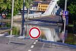 Voda na Střekově, středa ráno. Ústecko, 2013