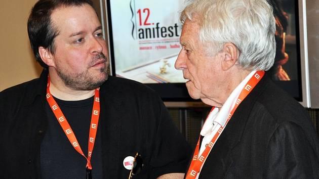 Čestný prezident AniFestu Gerald Potterton a Matthew M. Murphy (dopr. prog.).