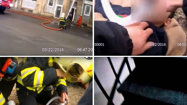 Snímek z videa ze záchrany dětí v Předlicích, které zveřejnila policie.