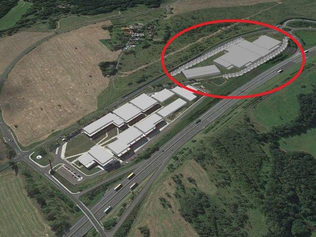 Hned vedle Nupharo parku (dole) má vyrůst dalších osm montážních hal (v oválu).