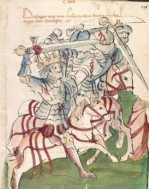 Vyobrazení Lothara III. a Soběslava I. vbitvě uChlumce vChronicon Pontificum et Imperatorum, vznik kolem roku 1450.