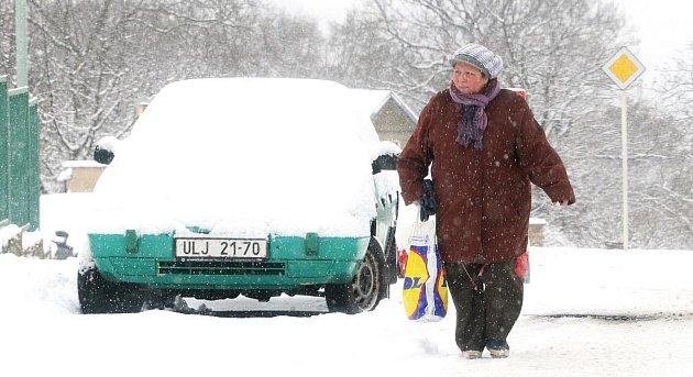 Silné sněžení zasáhlo Ústecko...