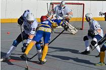 Hokejbalisté ústecké Elby (v bílém) porazili v domácím utkání extraligy KOVO Praha 3:0.  Foto: Miroslav Vlach