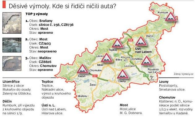Mapa největších výmolů vÚsteckém kraji.