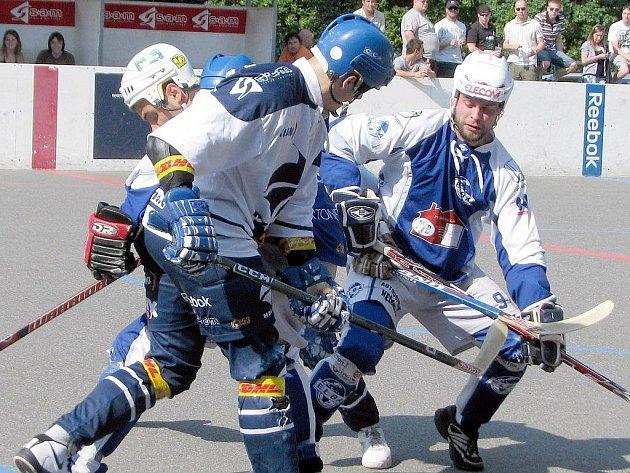 Hokejbalisté ústecké Elby se na hřišti Kladna snažili ze všech sil, přesto obě utkání prohráli.