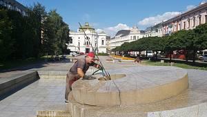 Čištění fontán v Ústí nad Labem