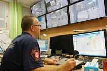 Strážník u městského kamerového systému v Ústí nad Labem