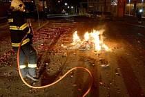 Požár ze silvestrovské noci 2013 až 2014 na Ústecku.