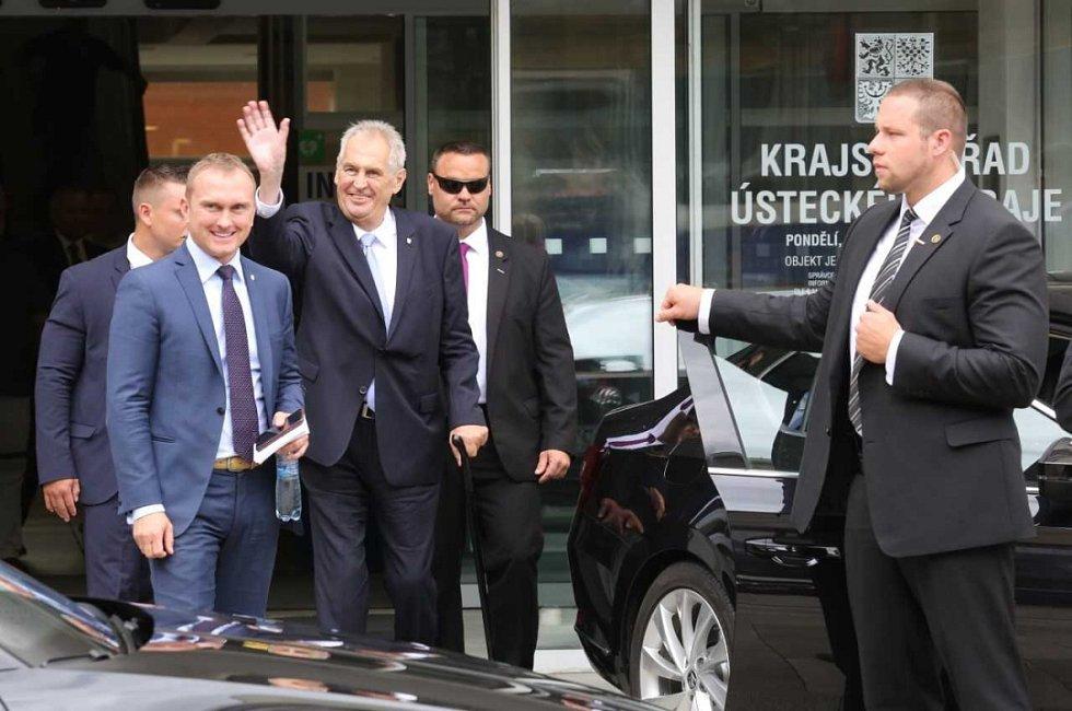 Miloš Zeman na návštěvě Ústeckého kraje.