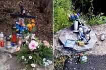 Tak vypadal pomníček mladíkovi v Úžíně původně a tak ho poničil kamion