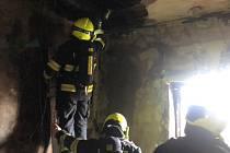 Požár bytu v Chabařovicích, sobota 6. března