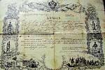 Pamětní rozlučkový list Antonína Hlaváče z císařské rakouské armády.