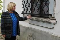 Sběrači rozebírají Dominikánský klášter. Hana Mazáková ukazuje mezeru po parapetu.
