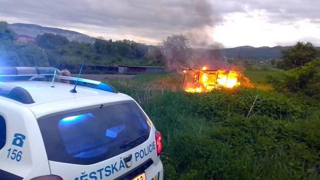 Požár chatky v Předlicích