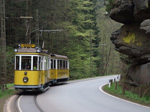 Tramvaj na trase Bad Schandau- Lichtenhainer.