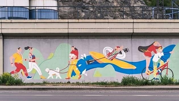 Autory malby v Přístavní ulici jsou Lina Skorobogatčenko a Oleg Zářecký