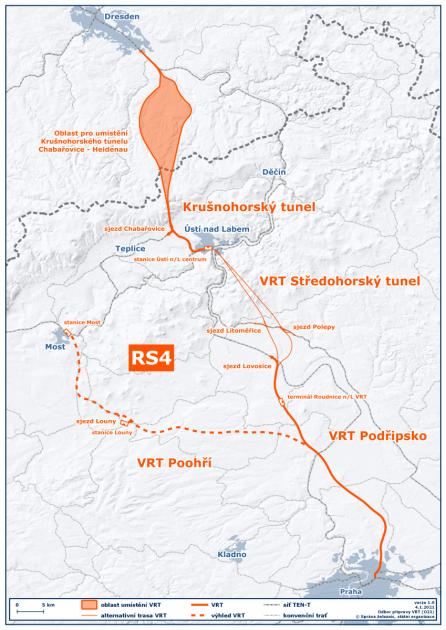mapka VRTu Praha - Drážďany