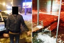 Podnapilý výtržník poškodil zastávku ve Vinařské ulici, pak okopával auto