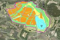 Mapa s vyznačením rekultivací na místech dnes aktivní těžby na povrchovém lomu Vršany Šverma Vršanské uhelné, a. s. Oranžová barva vyznačuje rekultivace zemědělské, zelená lesnické, modrá vodní a žlutá ostatní.