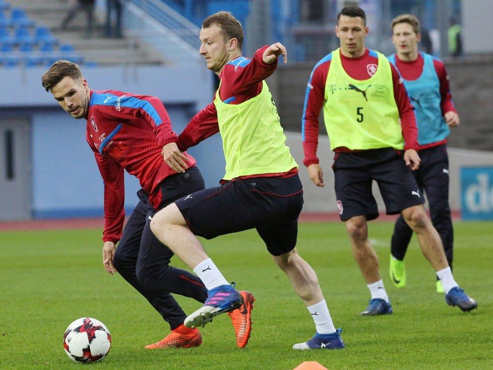 Trénink české fotbalové reprezentace na Městském stadionu v Ústí nad Labem.