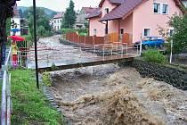 Rozvodněný Homolský potok Velké Březno