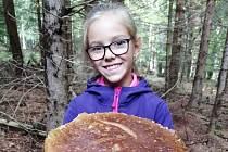 Devítiletá Terezka Vondráková našla opravdový skvost. Hlava tohoto hřibu měla v průměru více než 42 centimetrů.