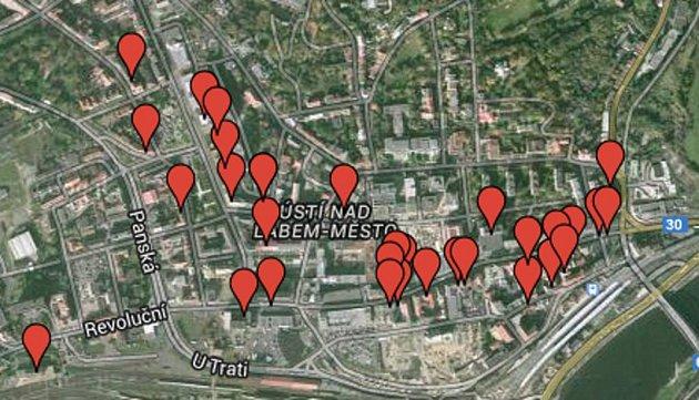 Mapa heren vcentru Ústí.
