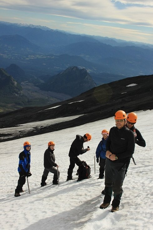 Výstup na aktivní sopku Villarica v Chile.