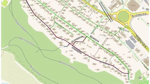 Mapka oprav kanalizace a vodovodního řádu v Hynaisově ulici na ústeckém Bukově