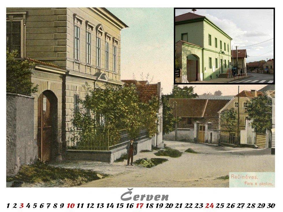 Ke kulatému jubileu vydala obec Račiněves barevný kalendář s historickými a současnými snímky. Červen.