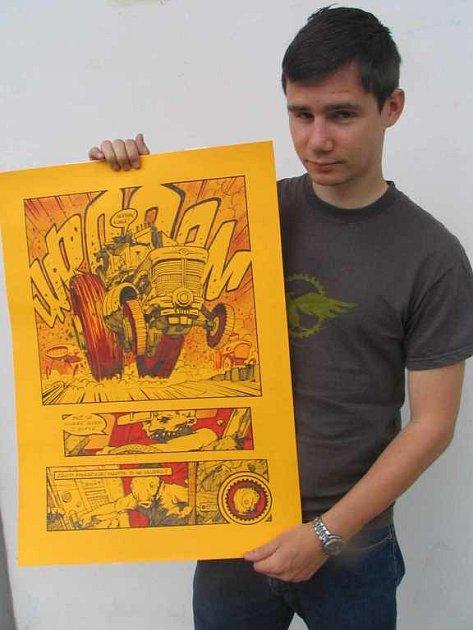 Komiks Traktor s pražským autorem Janem Hza Bažantem
