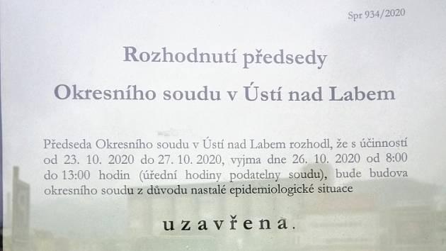 Uzavření Okresního soudu v Ústí nad Labem
