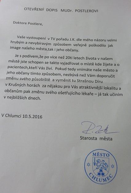 Oteřený dopis starosty Chlumce doktoru Zdeňku Postlerovi.