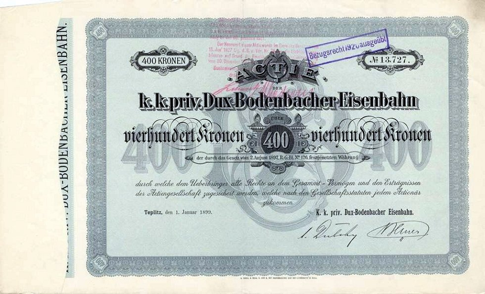 Akcie Kozí dráhy z r. 1899.