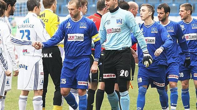Ústecký brankář Michal Vorel před utkáním proti Olomouci.