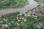 Velká voda v Ústí na leteckých snímcích, středa 5. června 2013.