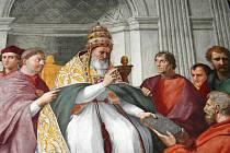 Papež Řehoř IX. Detail z Raffaelovy fresky, malované roku 1511 v Palazzi Pontifici v Římě. Tento papež zmiňuje Ústí ve své listině, kterou roku 1233 potvrzuje majetek klášteru sv. Jiří v Praze.