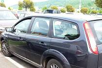 Pes zavřený v autě u trmického Globusu.