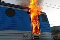 Hořící lokomotiva v Dolních Zálezlech
