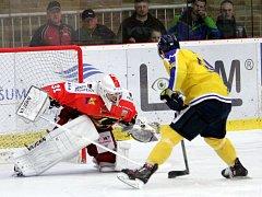 Ústečtí hokejisté (žlutí) vyhráli v Prostějově 4:3 po nájezdech.