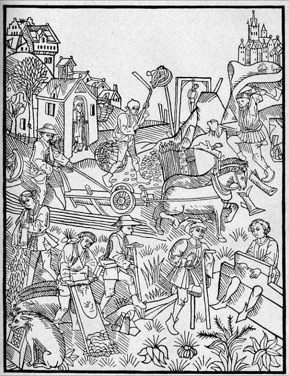 Život na vsi ve 14 století, obrázek z Vlastivědy 1929.